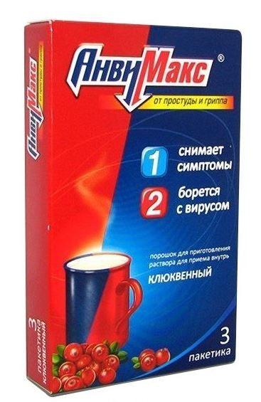 АнвиМакс, порошок для приготовления раствора для приема внутрь, клюквенный, 5 г, 3 шт.