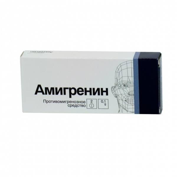 Амигренин, 100 мг, таблетки, покрытые пленочной оболочкой, 2 шт.