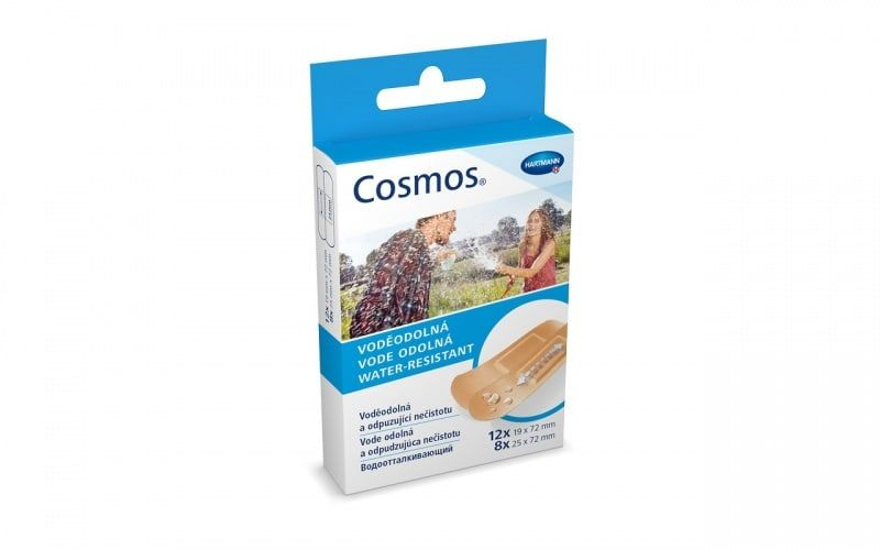 Cosmos Water-Resistant Пластырь, 2 размера, пластырь медицинский, водоотталкивающий, 20 шт.