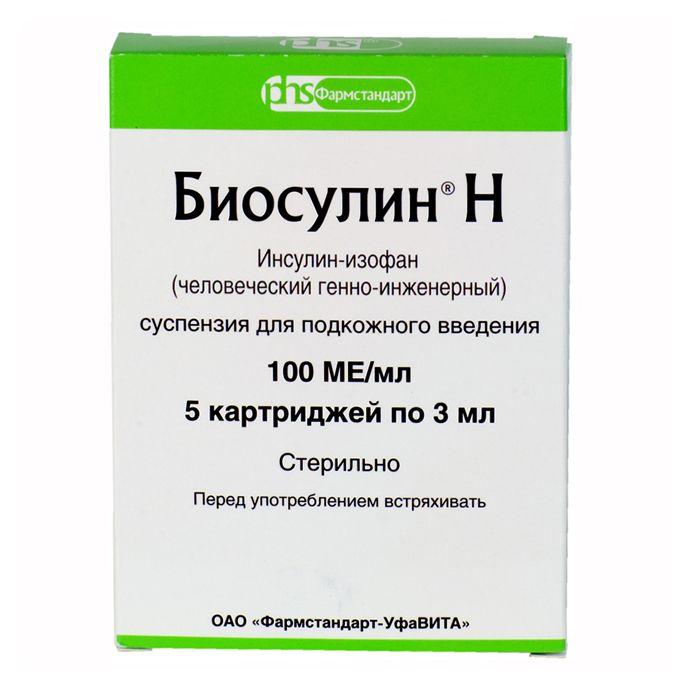 Биосулин Н, 100 МЕ/мл, суспензия для подкожного введения, 3 мл, 5 шт.