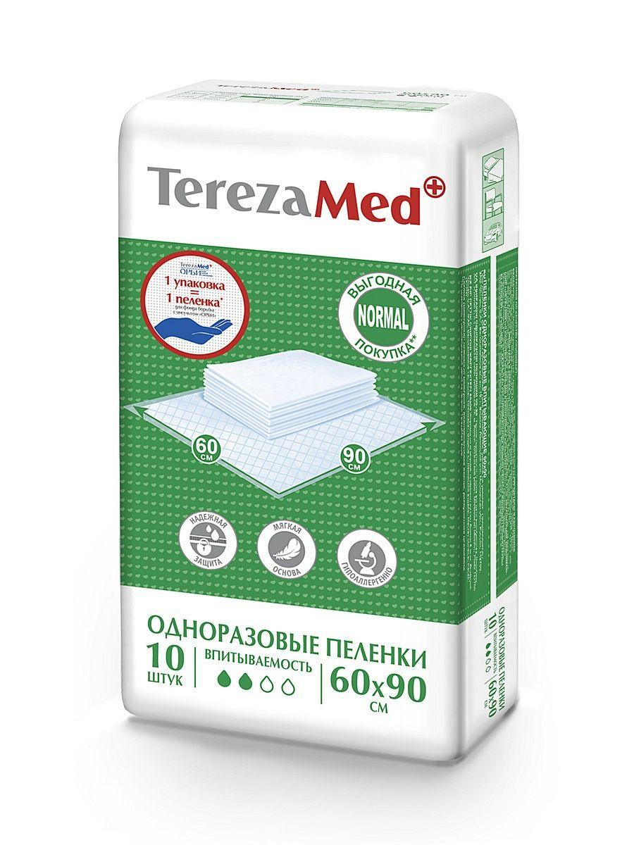 Пеленки впитывающие TerezaMed, 90 смx60 см, Normal (2 капли), 10 шт.