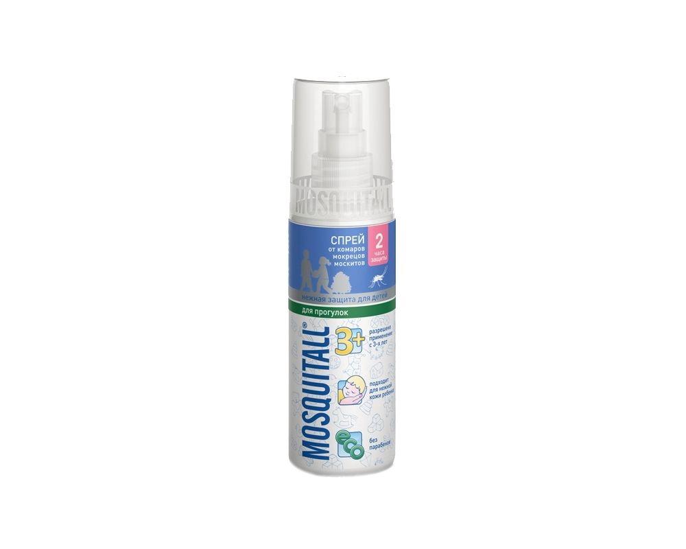 Mosquitall Нежная защита для детей спрей, раствор инсектицидный, на кожу, 100 мл, 1 шт.