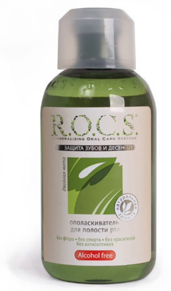 ROCS Ополаскиватель для полости рта Двойная мята, без фтора, раствор для полоскания полости рта, 400 мл, 1 шт.