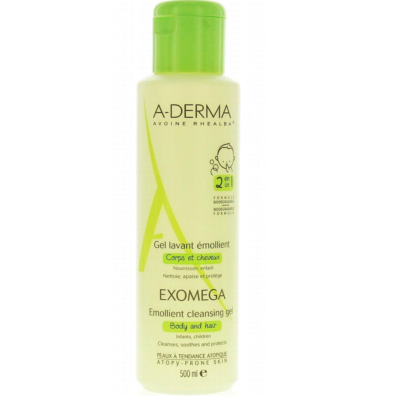 A-Derma Exomega смягчающий очищающий гель 2 в 1 для тела и волос, гель для душа, 500 мл, 1 шт.