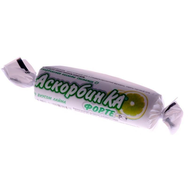 Аскорбин Ка Форте, 3 г, таблетки жевательные, со вкусом лайма, 10 шт.