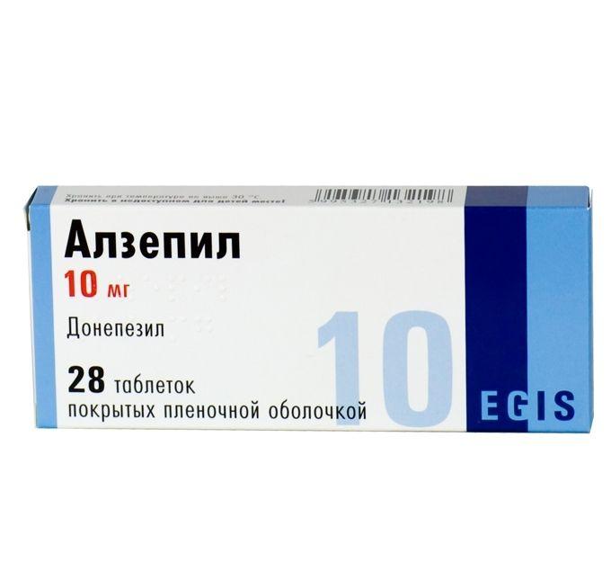 Алзепил, 10 мг, таблетки, покрытые пленочной оболочкой, 28 шт.