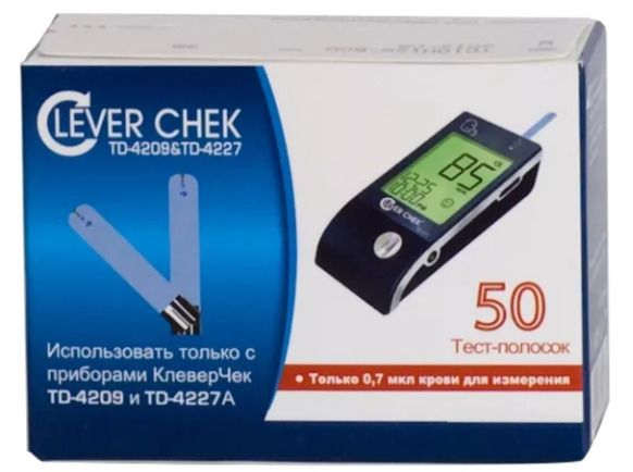 Тест-полоски Clever Chek TD-4227A, 50 шт.