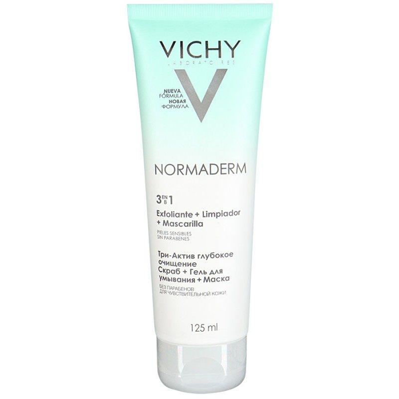 фото упаковки Vichy Normaderm Три-Актив глубокое очищение гель + скраб + маска