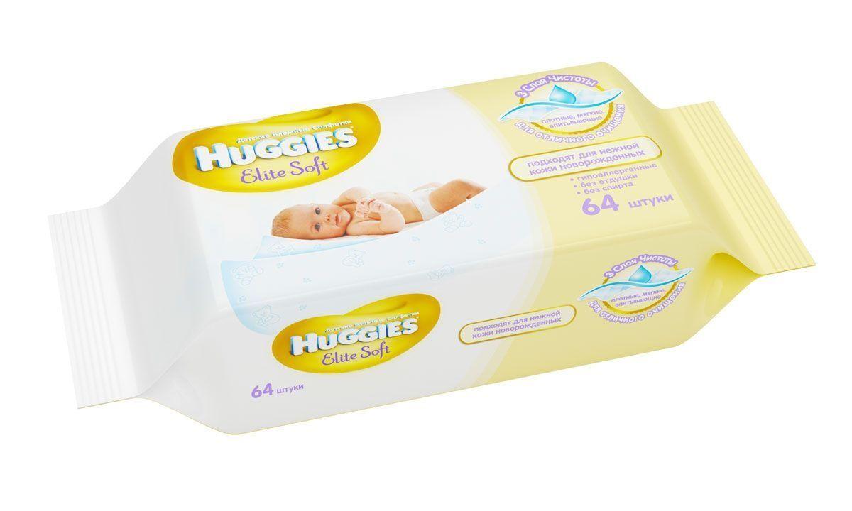 фото упаковки Huggies elite soft салфетки влажные детские