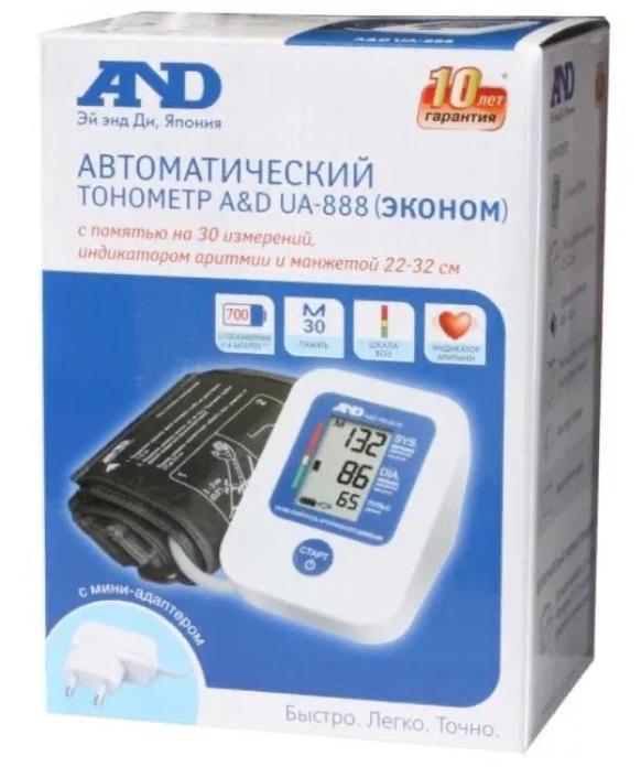 фото упаковки Тонометр автоматический AND UA-888 Эконом с адаптером