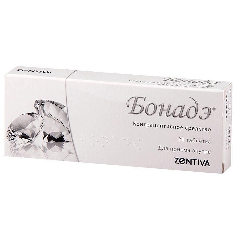 Бонадэ, 2 мг+0.03 мг, таблетки, покрытые пленочной оболочкой, 21 шт.