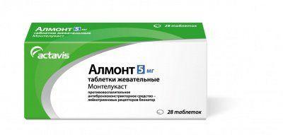 Алмонт, 5 мг, таблетки жевательные, 28 шт.