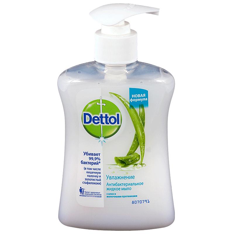 фото упаковки Dettol Мыло жидкое для рук Антибактериальное алоэ и молочные протеины