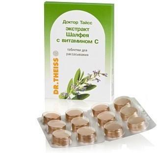 Доктор Тайсс Шалфея экстракт c витамином C, 2.5 г, таблетки для рассасывания, 24 шт.