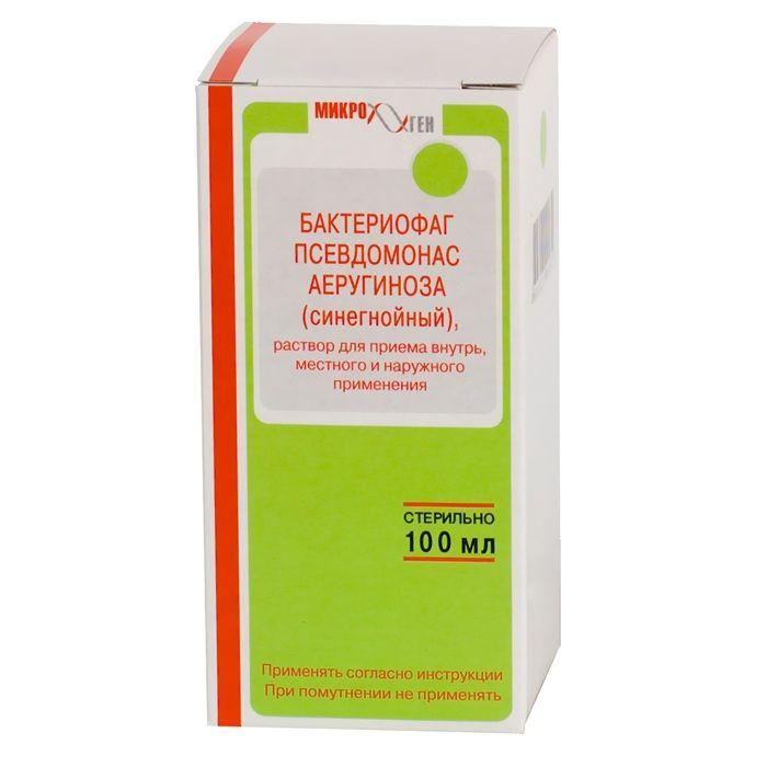 Бактериофаг псевдомонас аэругиноза (синегнойный) жидкий, раствор для местного применения и приема внутрь, 100 мл, 1 шт.