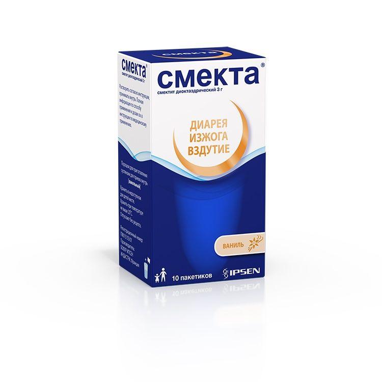 Смекта, 3 г, порошок для приготовления суспензии для приема внутрь, со вкусом или ароматом ванили, 3.76 г, 10 шт.