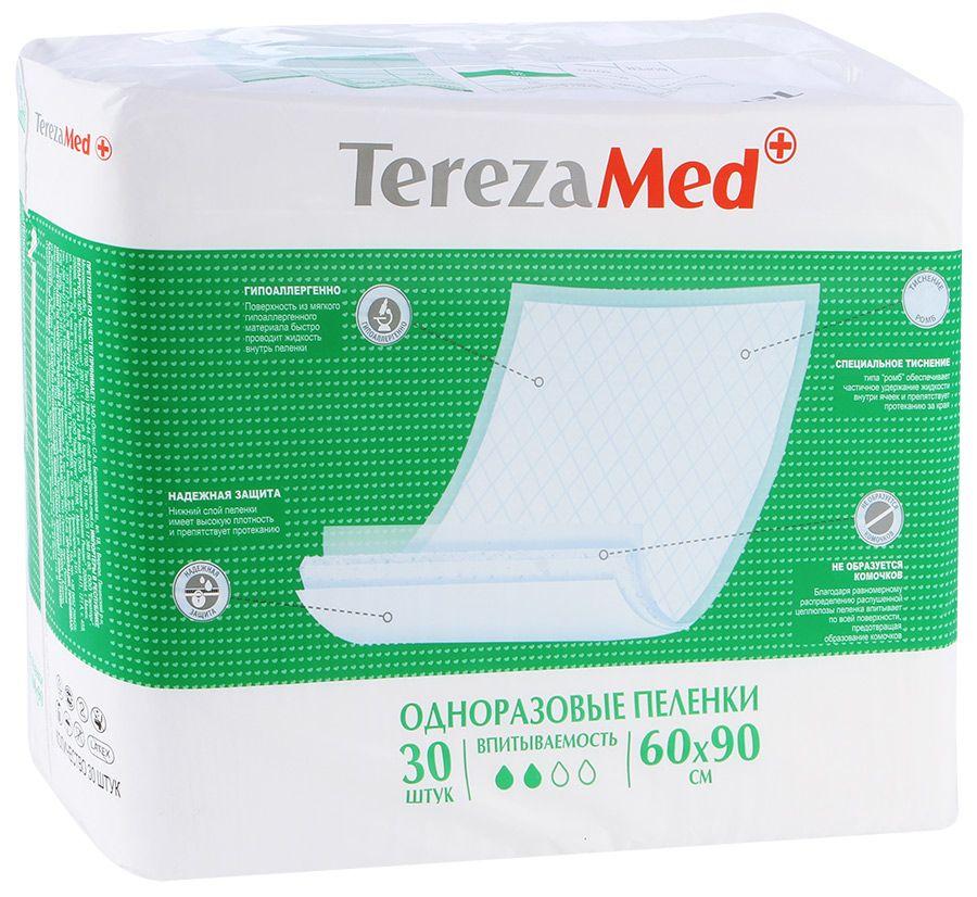 Пеленки впитывающие TerezaMed, 90 смx60 см, Normal (2 капли), 30 шт.
