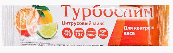 фото упаковки Турбослим батончик для похудения Цитрусовый микс