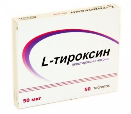 L-Тироксин, 50 мкг, таблетки, 50шт.