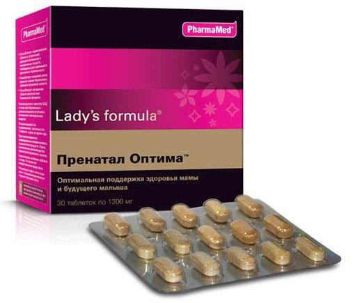 Lady's formula Пренатал оптима, 1300 мг, таблетки, 30 шт.