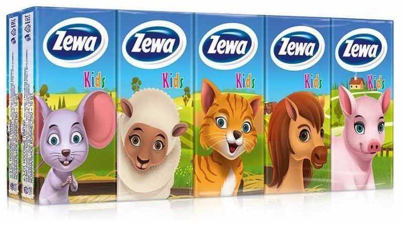 фото упаковки Zewa Kids платки носовые бумажные