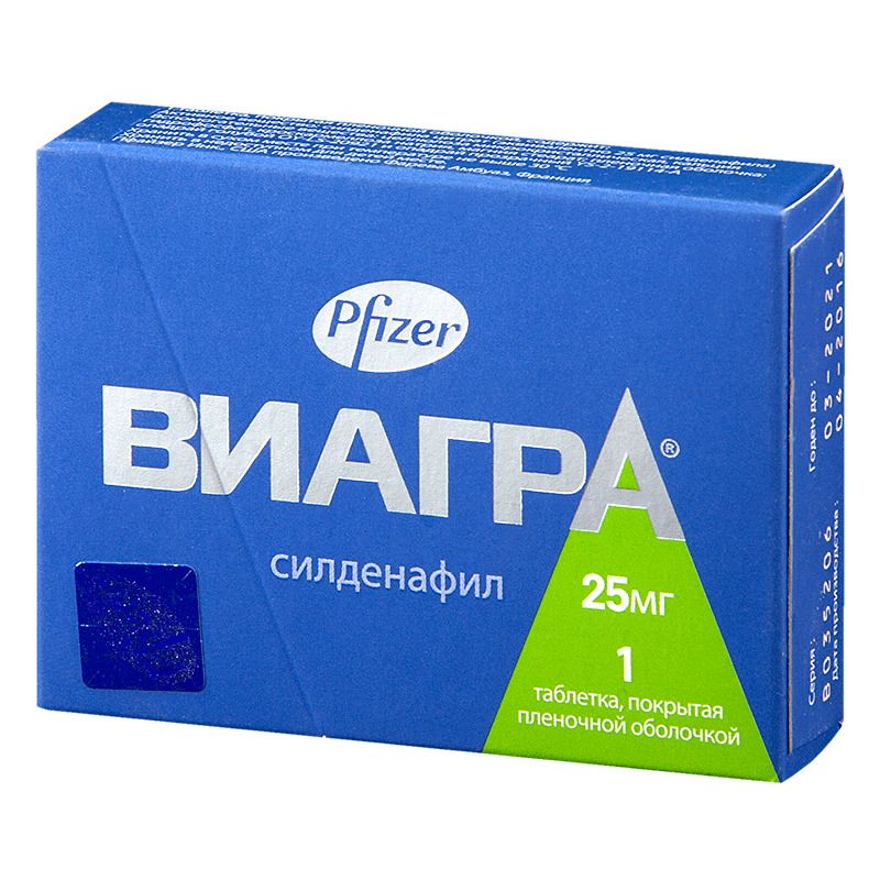 Виагра, 25 мг, таблетки, покрытые пленочной оболочкой, 1 шт.