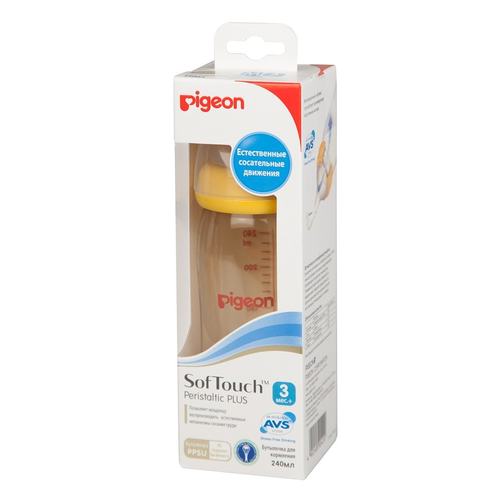 фото упаковки Pigeon бутылочка SofTouch Peristaltic Plus PPSU Пластиковая