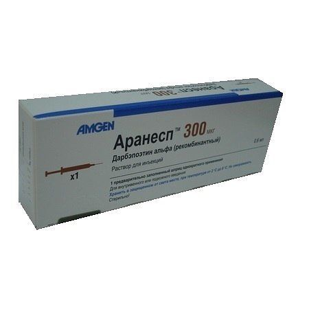 Аранесп, 30 мкг, раствор для инъекций, 0.3 мл, 1 шт.