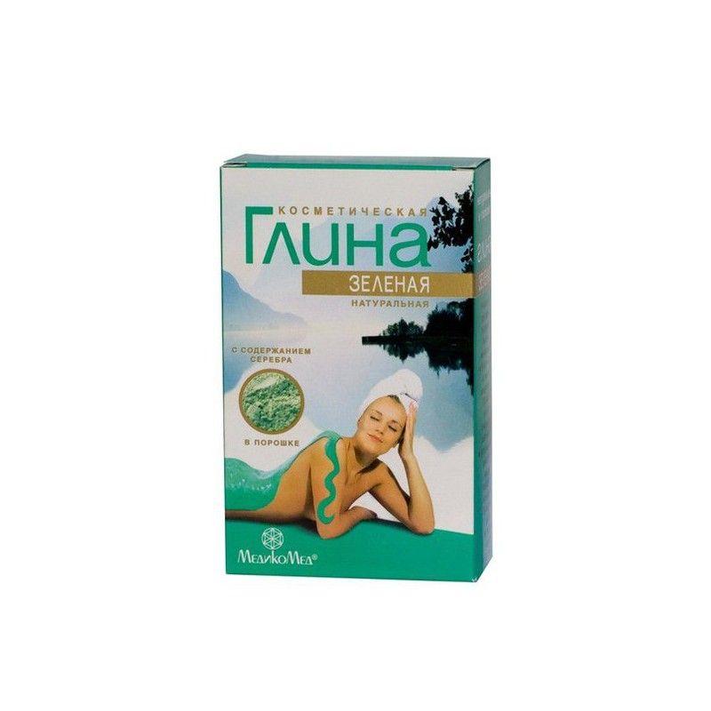фото упаковки Глина косметическая зеленая с серебром