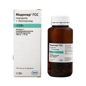 Мадопар ГСС 125, 100 мг+25 мг, капсулы с модифицированным высвобождением, 100 шт.