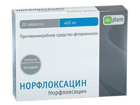 Норфлоксацин, 400 мг, таблетки, покрытые пленочной оболочкой, 20 шт.