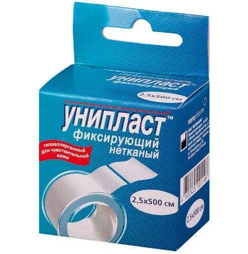 Унипласт, пластырь фиксирующий, 1.25х500 см, пластырь медицинский, на основе нетканого материала, 1 шт.