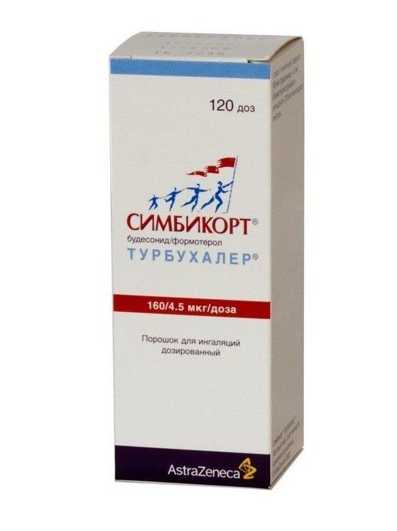 Симбикорт Турбухалер, 160+4.5 мкг/доза, 120 доз, порошок для ингаляций дозированный, 1шт.