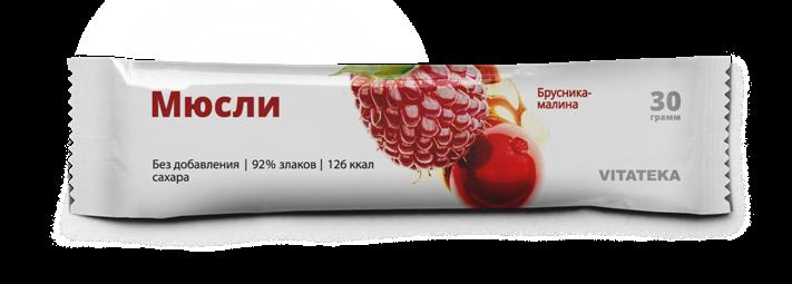 фото упаковки Витатека Мюсли батончик бруснично-малиновый
