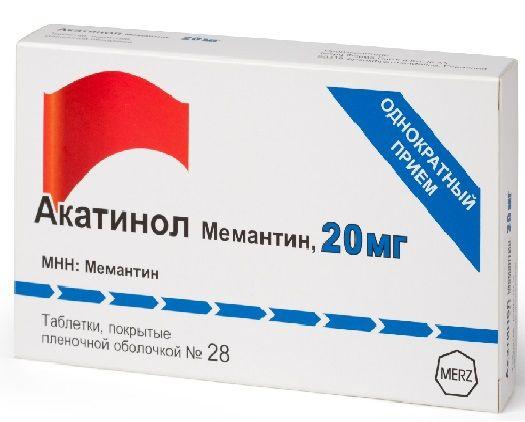 Акатинол Мемантин, 20 мг, таблетки, покрытые пленочной оболочкой, 28 шт.