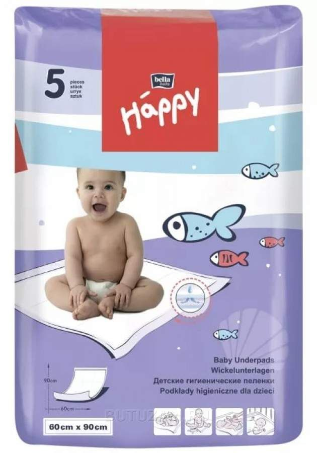 Пеленки детские впитывающие Bella baby Happy, 90 смx60 см, 5 шт.