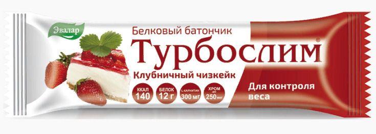 фото упаковки Турбослим батончик для похудения Клубничный чизкейк