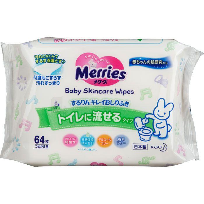 фото упаковки Merries Flushable салфетки влажные детские