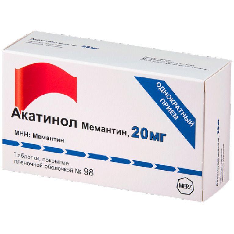 Акатинол Мемантин, 20 мг, таблетки, покрытые пленочной оболочкой, 98 шт.