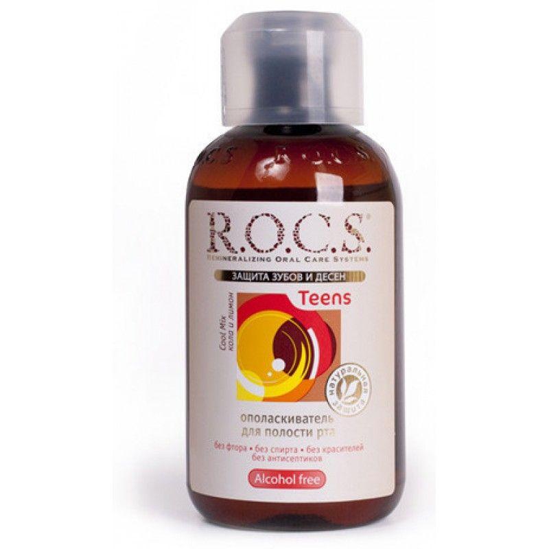 ROCS Teens Cool mix ополаскиватель для полости рта, без фтора, раствор для полоскания полости рта, со вкусом колы и лимона, 400 мл, 1 шт.