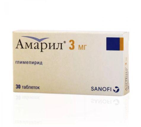 Амарил, 3 мг, таблетки, 30 шт.