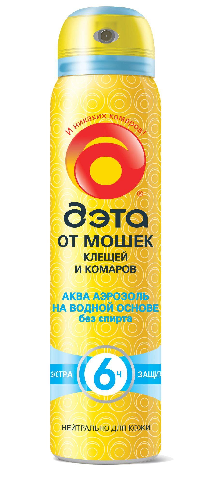 фото упаковки Дэта аква аэрозоль от мошек, клещей и комаров