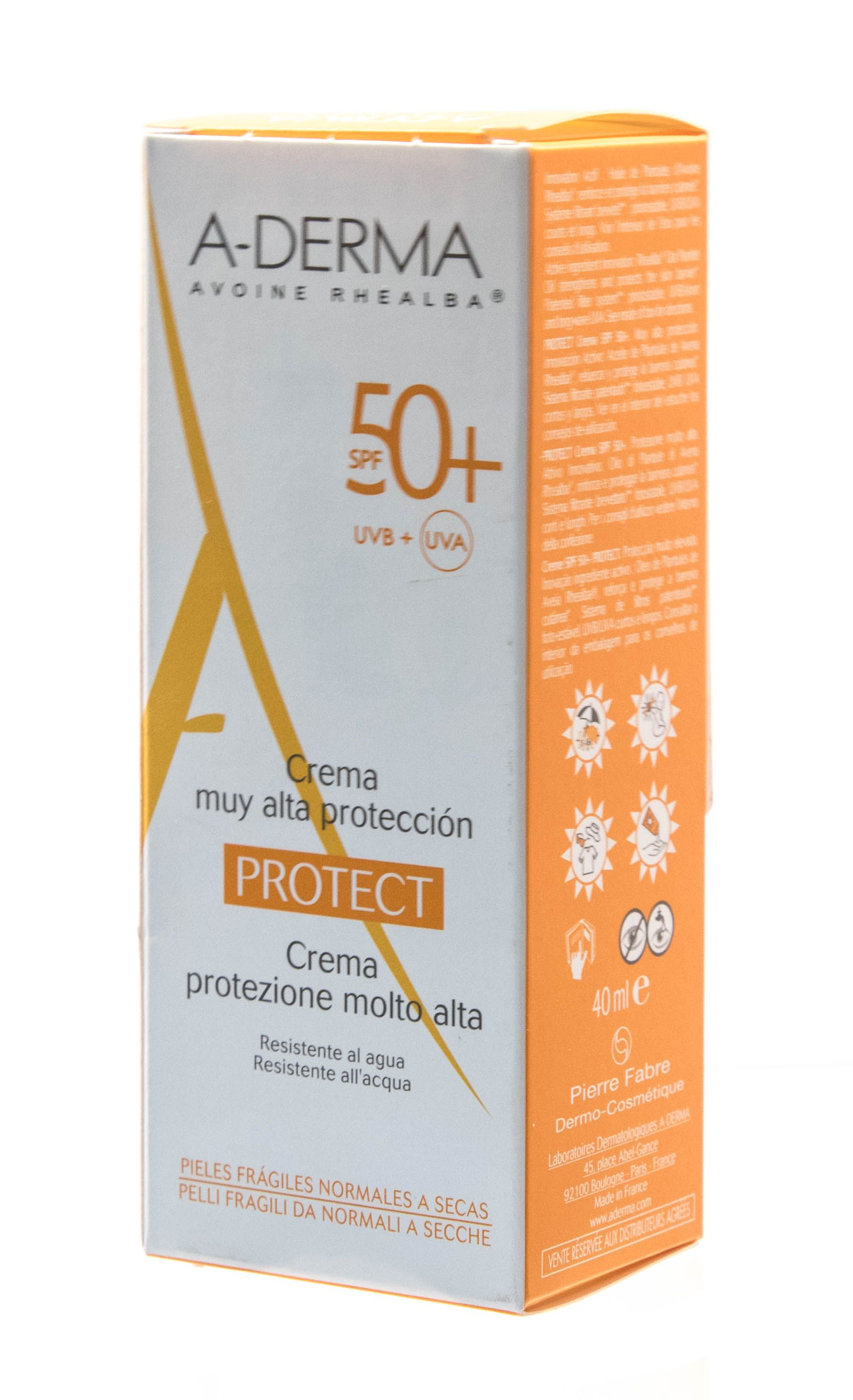 A-Derma Protect Крем солнцезащитный SPF 50+, крем для лица, 40 мл, 1 шт.