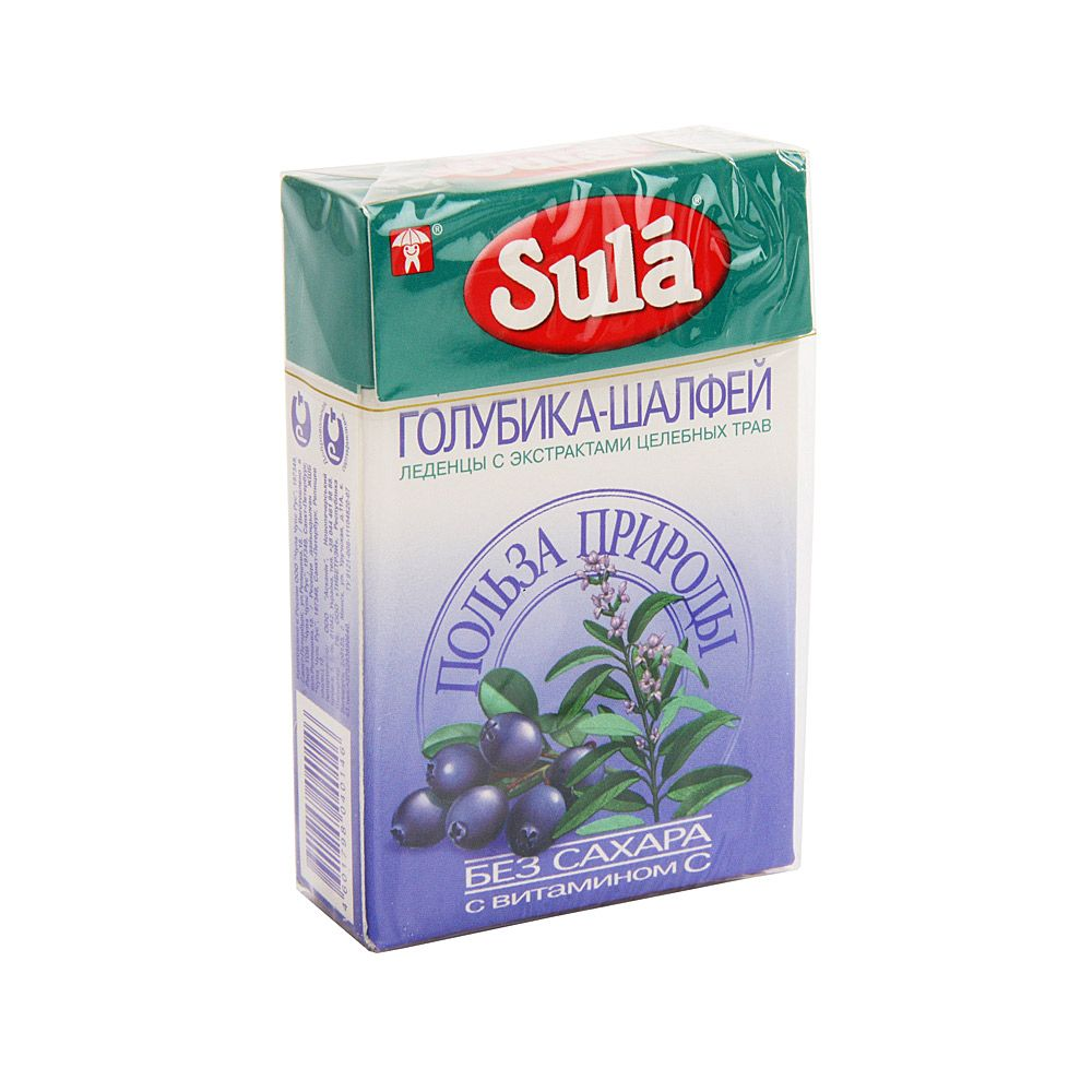 Sula карамель леденцовая без сахара, леденцы, со вкусом голубики и шалфея, 40 г, 1 шт.