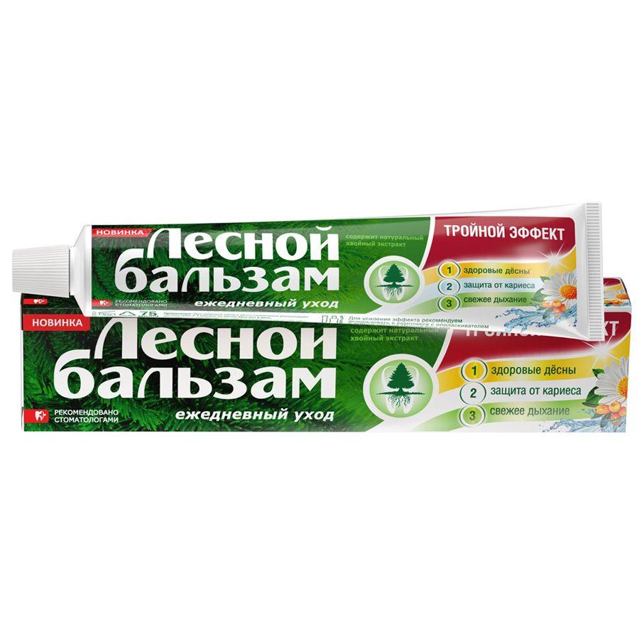 фото упаковки Лесной бальзам зубная паста Тройной эффект с ромашкой