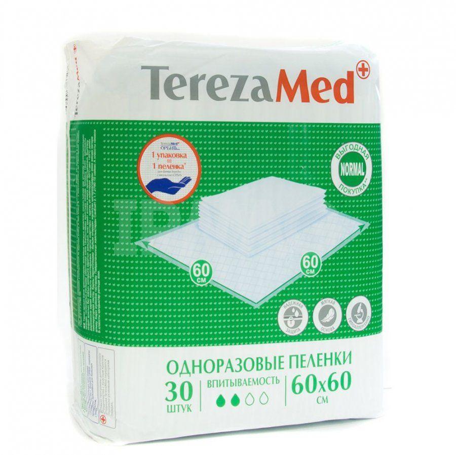 Пеленки впитывающие TerezaMed, 60 смx60 см, Normal (2 капли), 30 шт.