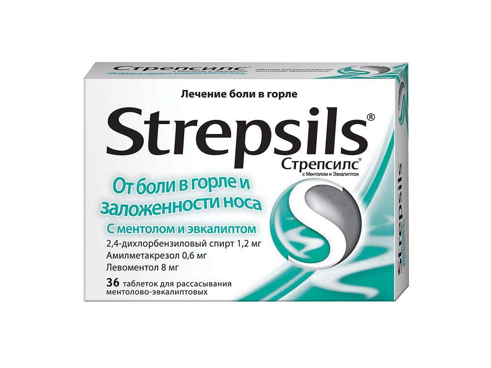 фото упаковки Стрепсилс с ментолом и эвкалиптом