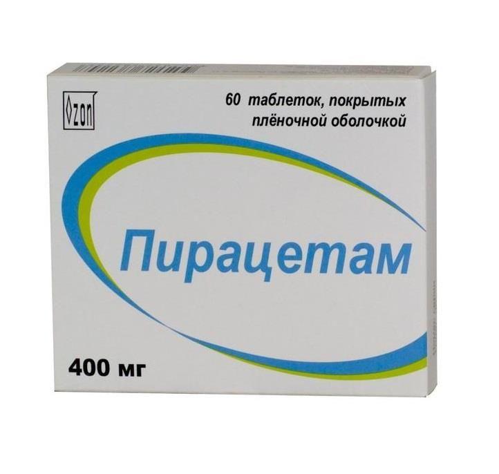 Пирацетам, 400 мг, таблетки, покрытые пленочной оболочкой, 60 шт.
