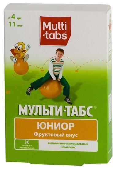 Мульти-табс Юниор, таблетки жевательные, фруктовые, 30 шт.