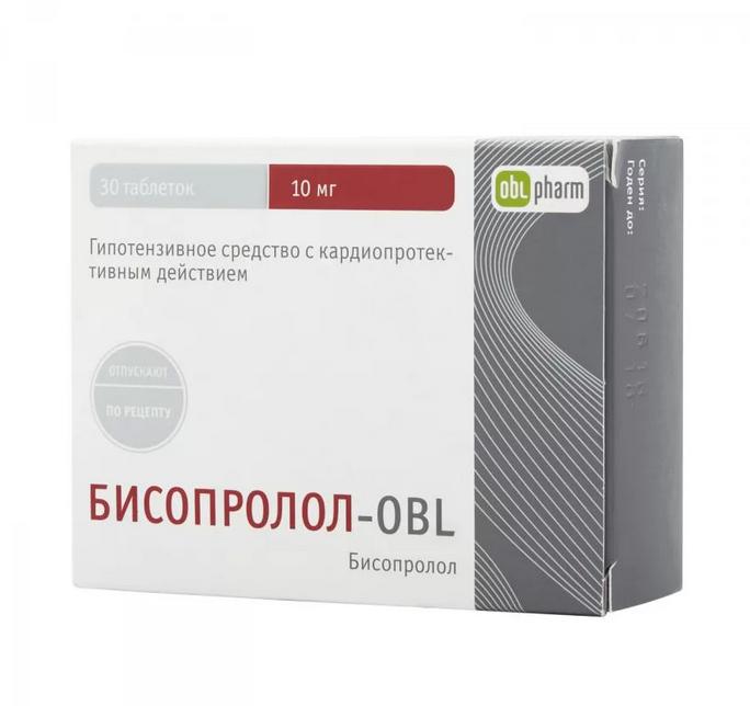 Бисопролол-OBL, 10 мг, таблетки, покрытые пленочной оболочкой, 30шт.